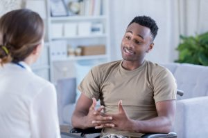 Male soldier discusses issues with therapist